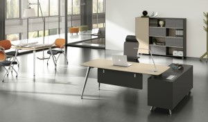 modern office with lacquer finish office table and chair