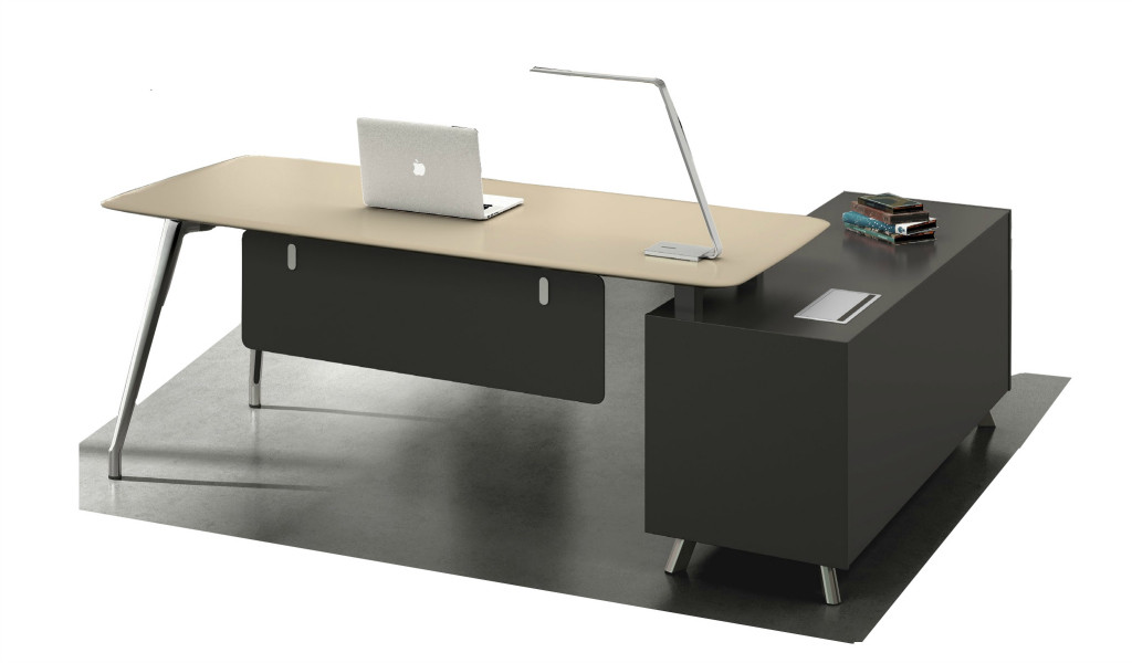 office table with lacquered table top and dark gray side cabinet