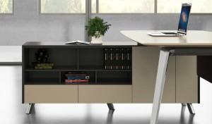 office table with side cabinet in lacquer finish