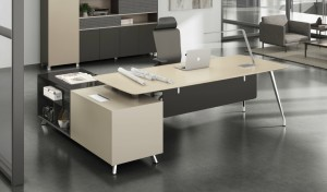 Modern office with stylish office table in lacquered finish