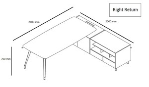 shop drawing of 8 feet office table with side cabinet on the right