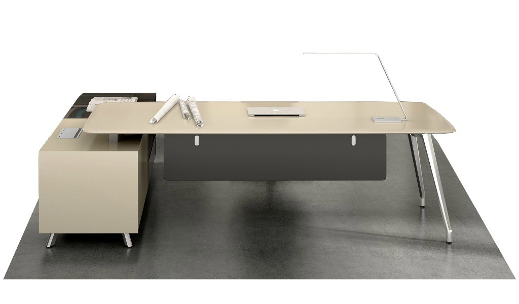 8 feet premium office table in lacquer finish with side cabinet
