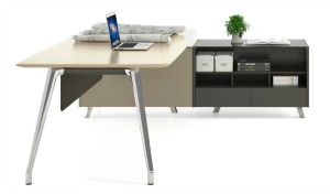 8 feet premium office table in champagne color lacquer with side cabinet