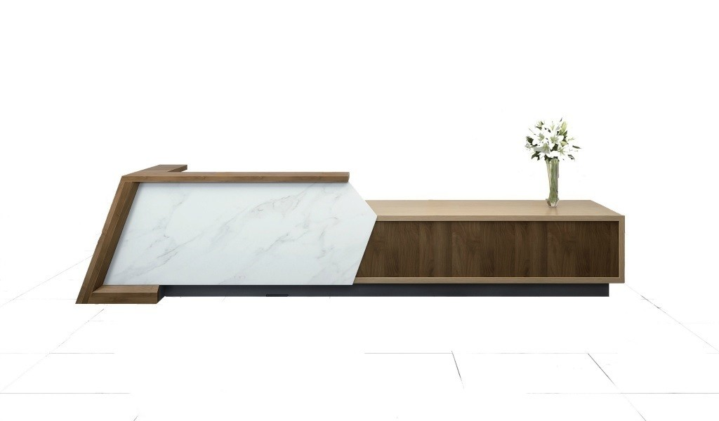 large reception desk in combination of marble and wood