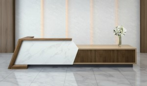 large reception area with a big reception table in marble