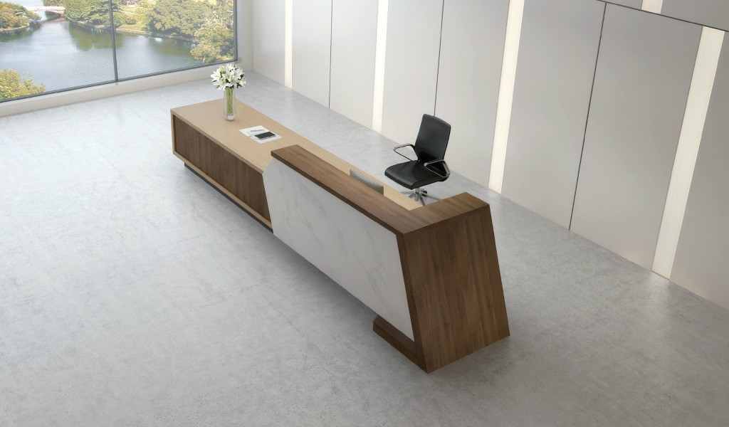 reception table counter in walnut veneer finish