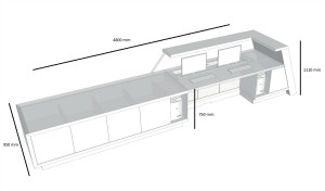 shop drawing of large reception table with dimensions