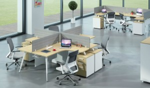 modern office with 4 seater modular workstation