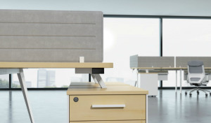 office workstation with fixed pedestal and desk top felt screen