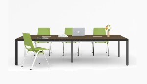 12 seater conference table in walnut laminate and black steel legs