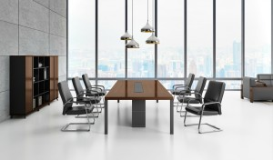 conference room with walnut veneer conference table and six chairs