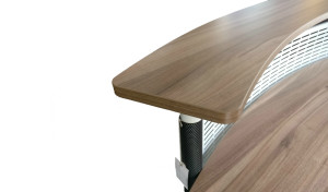 reception table counter top in walnut laminate finish