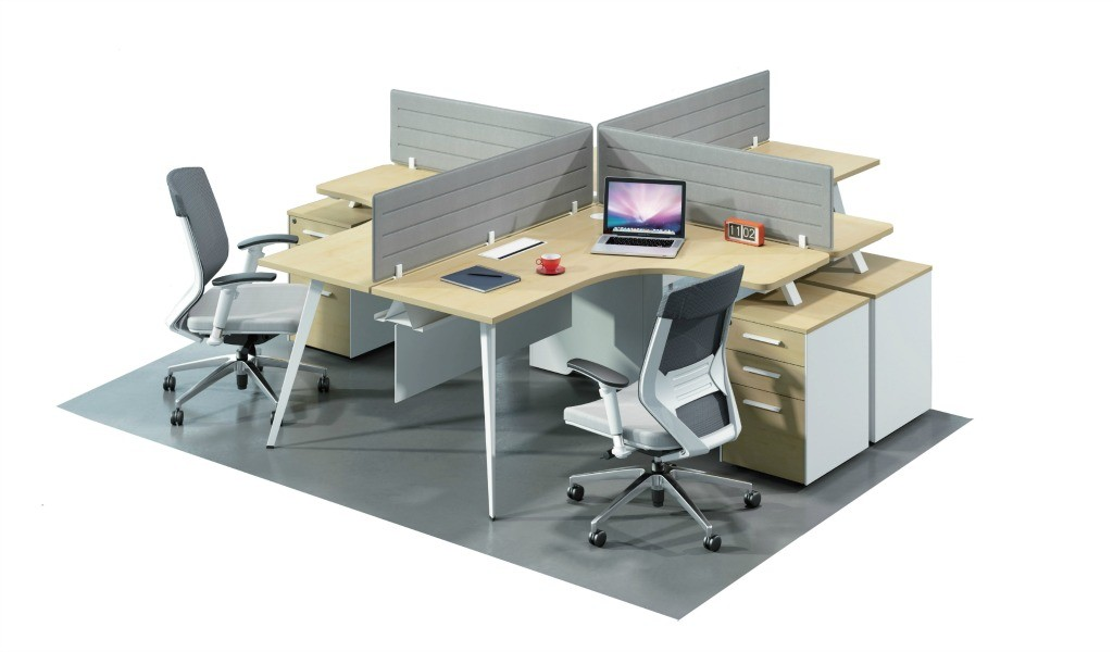 4 seater modular desking system in maple laminate finish