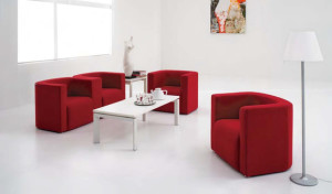 waiting lounge with red fabric sofas