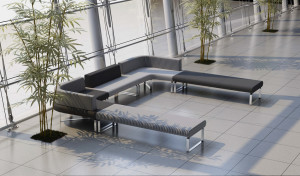 U shaped sofa in large office lobby