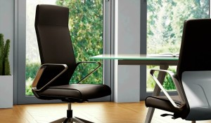modern office with sleek office chair in brown leather