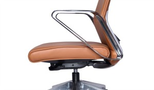 tan leather office chair with synchro-tilt mechanism