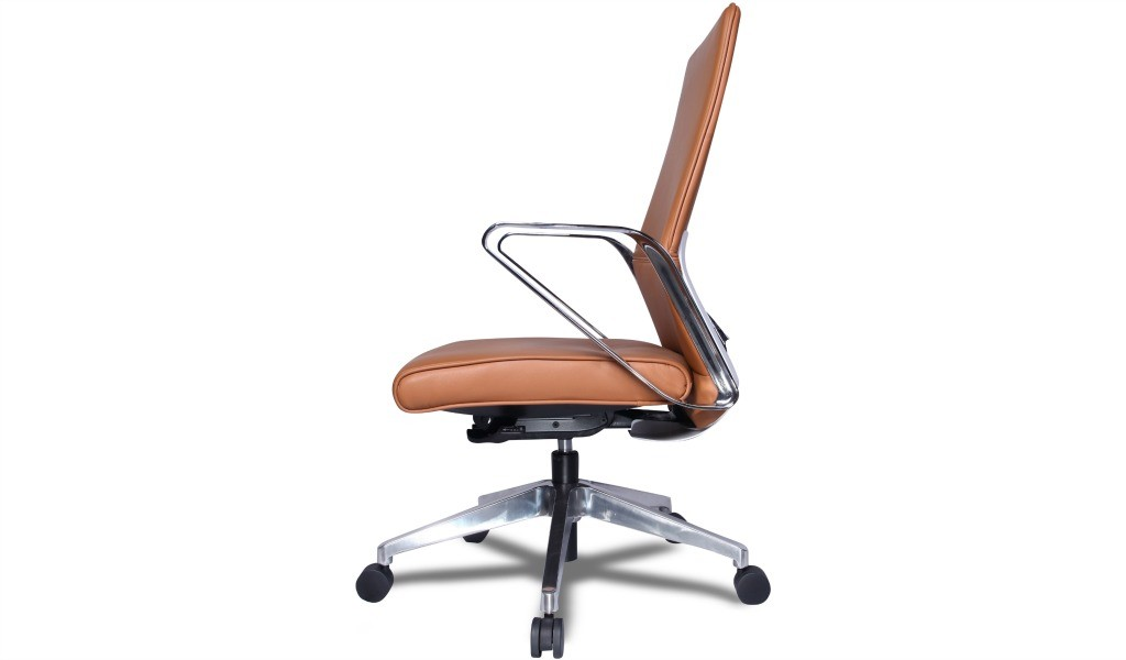 office chair in tan leather and stainless steel arms