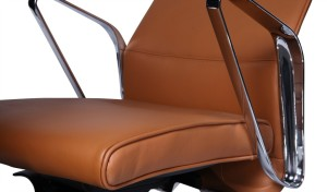 office chair in premium tan leather finish with stainless steel arms