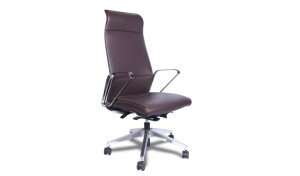 brown leather office chair with high back rest and stainless steel arms