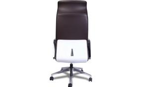 high back brown leather office chair with adjustable lumbar support