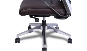 dark brown leather office chair with aluminum alloy base