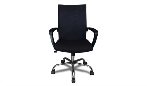 black computer chair with steel base