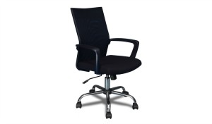 medium back office chair in black with tilt and lift mechanism