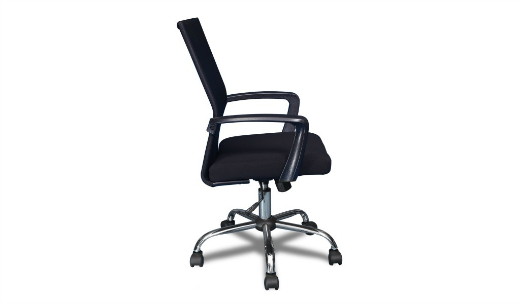office chair with ergonomic backrest and fabric seat in black