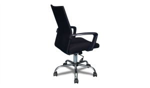 office chair with fixed armrests and chrome base