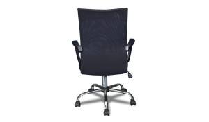 office chair in black mesh back view