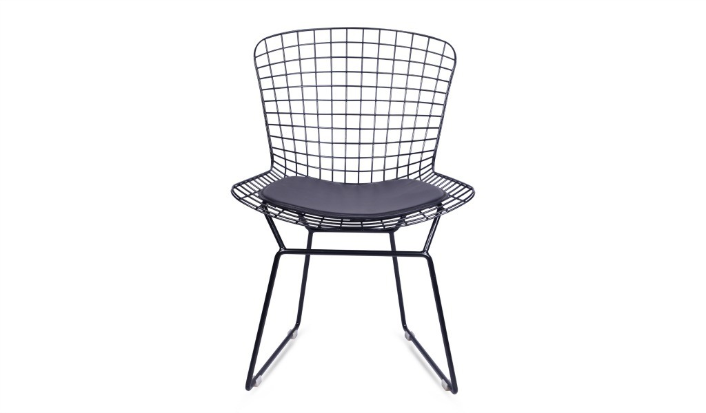 eams inspired black wire cafeteria chair with PU seat pad