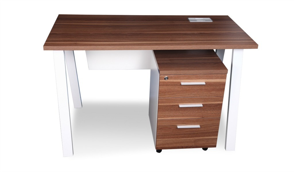a compact work desk in walnut laminate