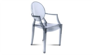 ghost cafeteria chair in transparent acrylic with armrests