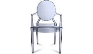 transparent acrylic chair with a gray tint and armrests
