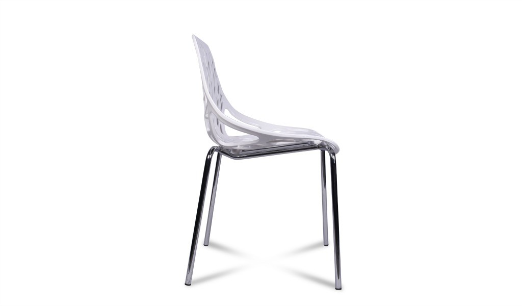 side view of white cafeteria chair with steel legs