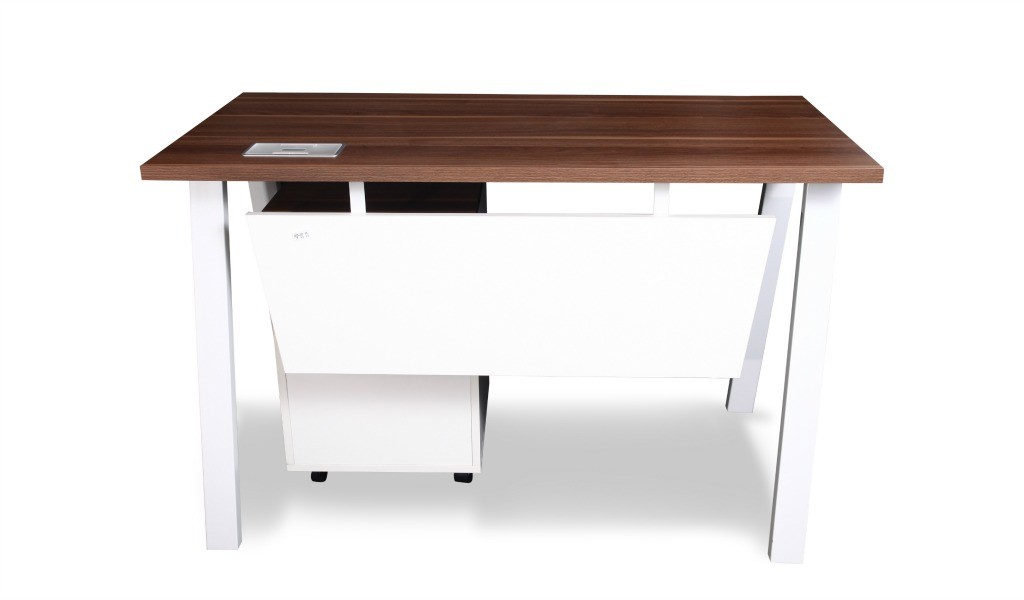small office desk with privacy panel under the desk top