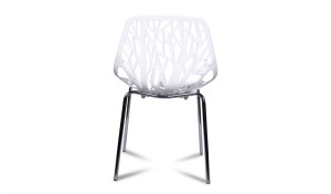 white cafeteria chair with soft plastic seat