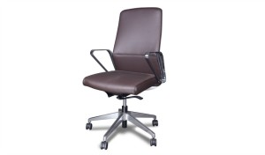 medium back office chair in brown leather and steel arms