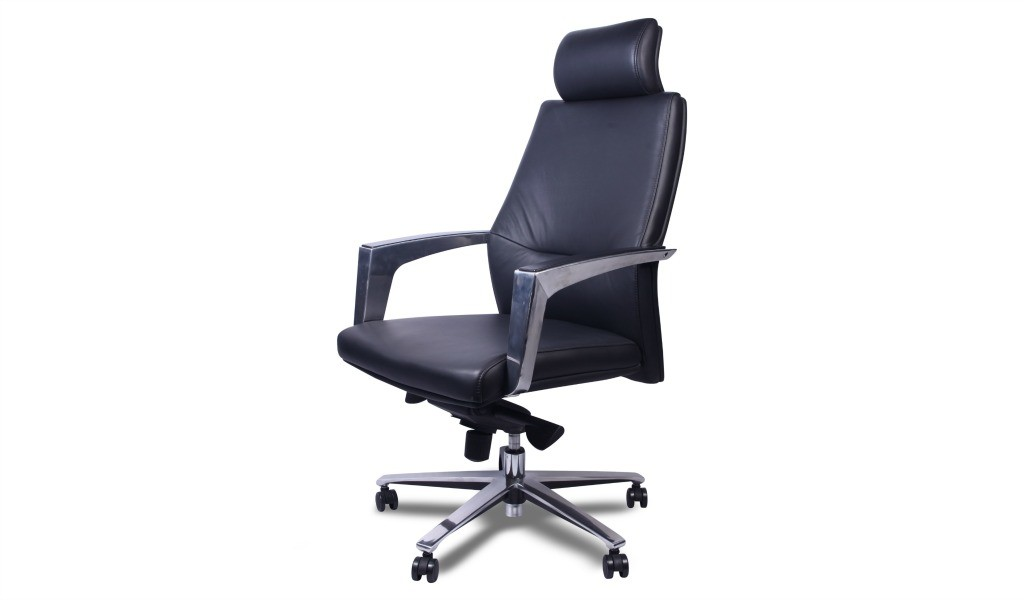 high back office chair in leather and steel
