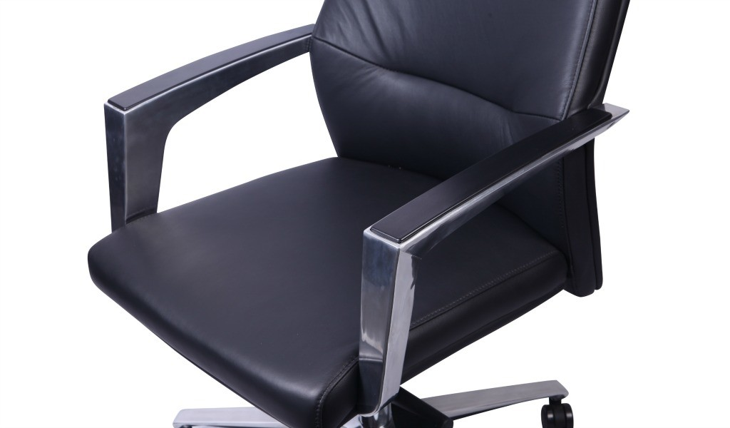 black leather office chair with padded steel armrests