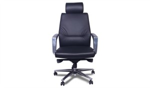 front view of black leather office chair with steel base