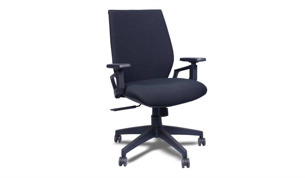 medium back office chair in black fabric upholstery