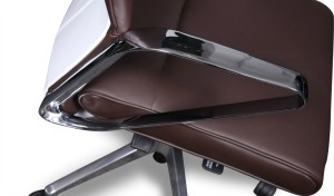 sleek stainless steel armrests of brown leather office chair