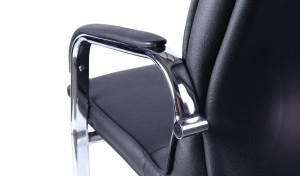 visitor chair with stainless steel fixed arm rests with padding