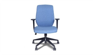 ergonomic office chair in blue fabric upholstery