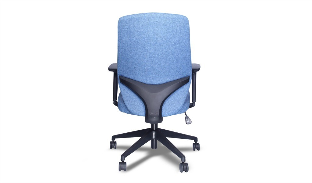 office chair in blue fabric with lumbar support