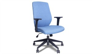 medium back office chair with blue fabric upholstery