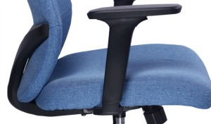 blue fabric office chair with adjustable armrests