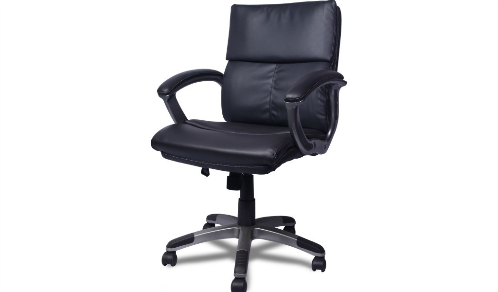 medium back office chair with black PU leather upholstery